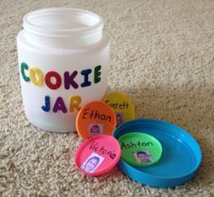 """""""Who stole the cookie from the cookie jar?"""" Get to know you game for kinder. Tip: add pictures for younger students who can't read. (This cookie jar was made from a dollar store container and the """"cookies"""" are play-doh lids!)"""