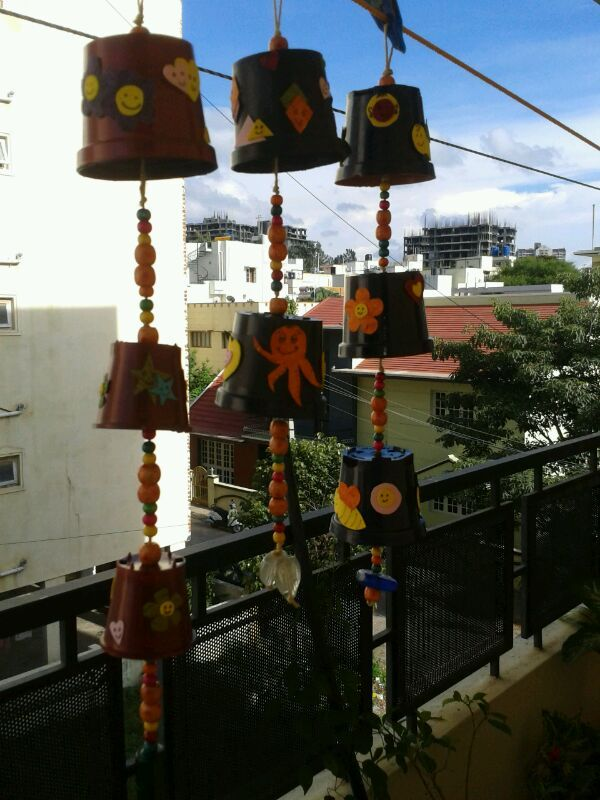 Wind Chimes with plastic pots https://www.facebook.com/Fingertipscrafts