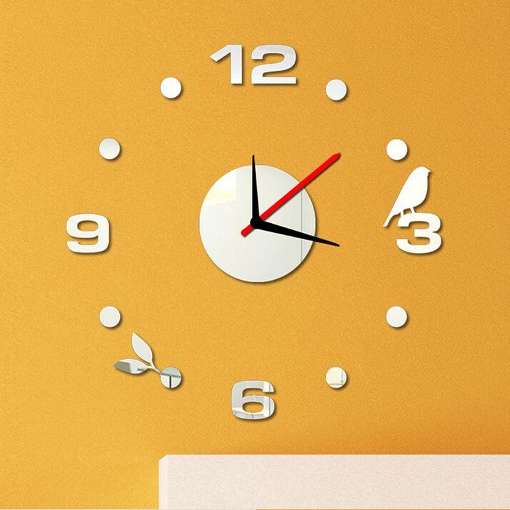 Modern dígitos relógio de parede criativo adesivo decoração de casa diy espelho acrílico decalque sala de estar alishoppbrasil