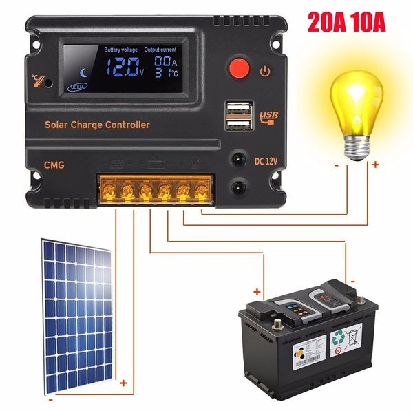 10a 20a 12v 24v Lcd Display Pwm Solar Panel Regulator Overload Short Circuit Protection Solar Charge Controller Wi Solar Charger Solar Panels Best Solar Panels