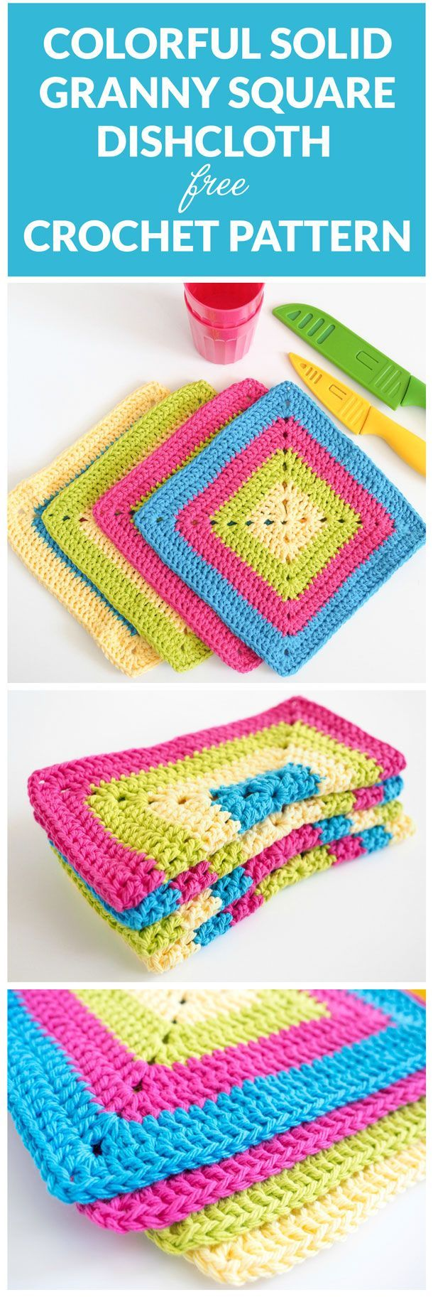 Free Colorful Solid Granny Square Dishcloth Crochet Pattern includes a video tutorial. A fun, lively and super simple crochet pattern. Click for pattern. #CrochetPatternsGrannySquares