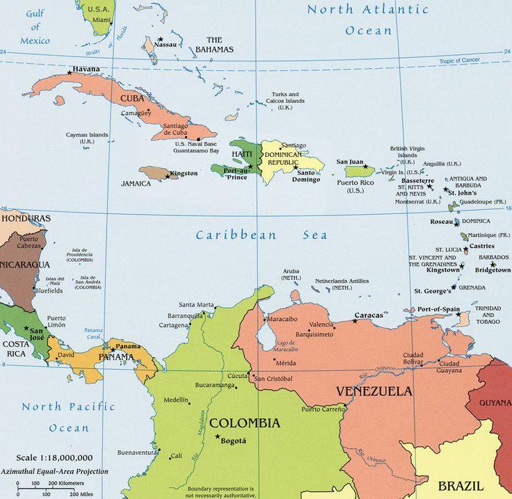"""UBICACION DE PUERTO RICO EN EL CARIBE - """"Mapa Político Caribe"""". (Guiageo)."""