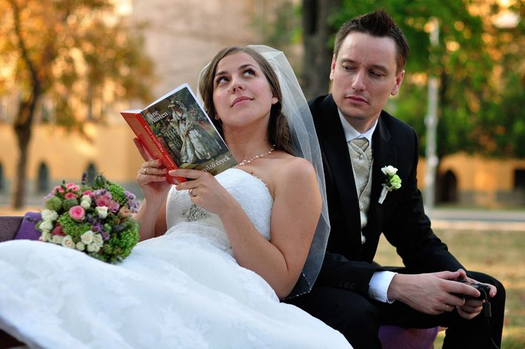 bride and groom - different habits - reading and playing