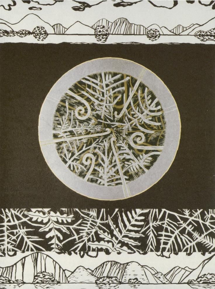 Marilynn Webb - Doubtful Sound.  Hand coloured woodblock