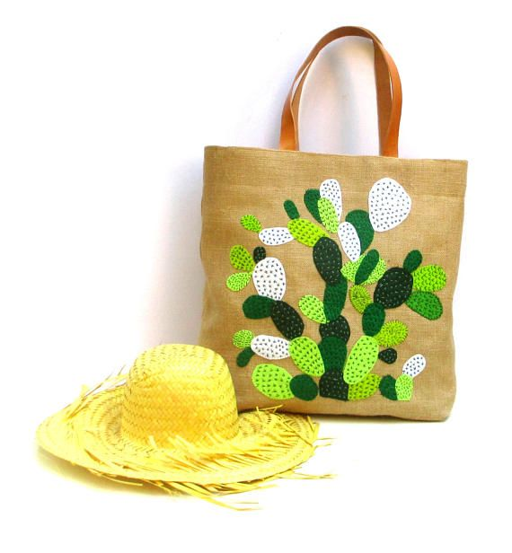 Cactus hand embroidered  jute tote bag bohemian inspired
