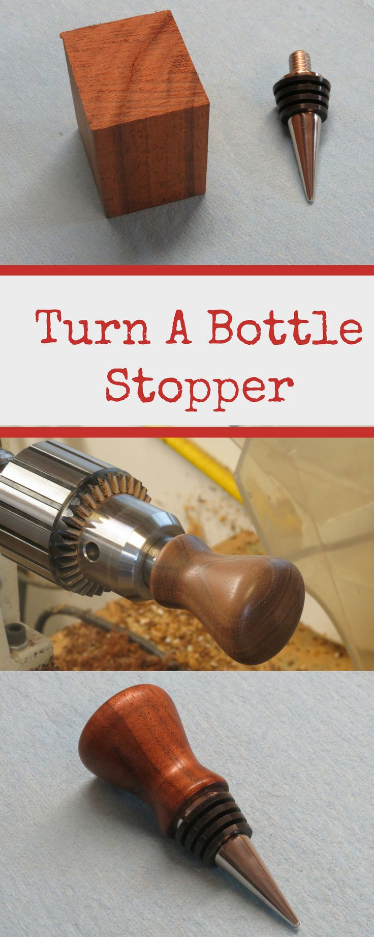 DIY Woodworking Ideas Learn step-by-step how to make a wine bottle stopper. This will look great in yo...