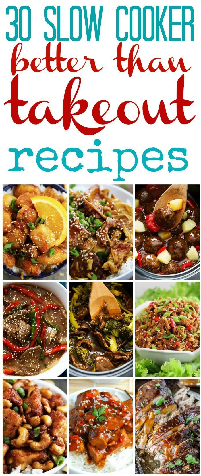 30 Slow Cooker BETTER THAN TAKEOUT recipes rounded up all in one spot! They are all amazing!
