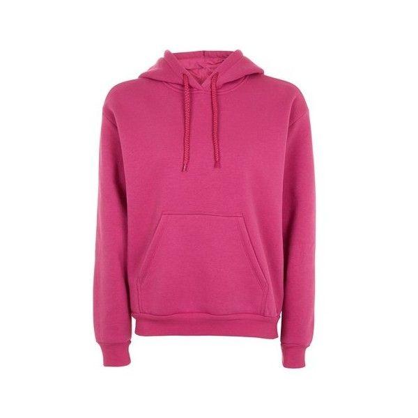 Topshop Petite Oversized Hoodie (500 ARS) ❤ liked on Polyvore featuring tops, hoodies, magenta, oversized tops, layered hoodie, pink hoodie, sweatshirt hoodies and magenta top