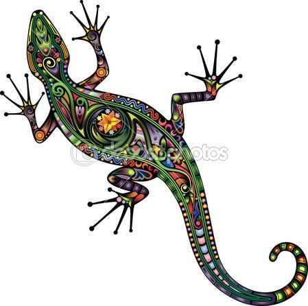 A silhouette of a lizard, collected from the variegated elements of vegetable nature.