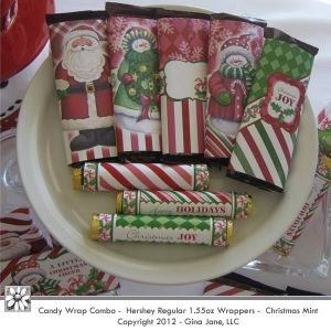 Printable Christmas Hershey Candy Bar Wrappers - Covers and Rolo's Wrappers.  Gina Jane Designs - DAISIE Company