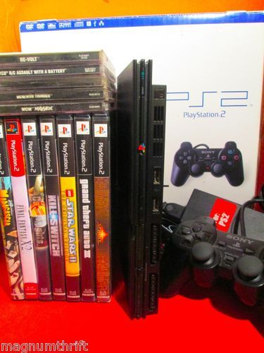 Sony PlayStation 2 Slim Console & 12 Games!  7 PS2 Games & 5 PS1 Games  + Controller
