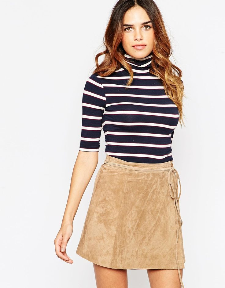 ASOS Top With Turtle Neck In Stripe