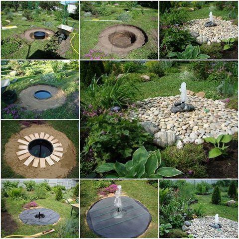 Własnej roboty fontanna w ogrodzie