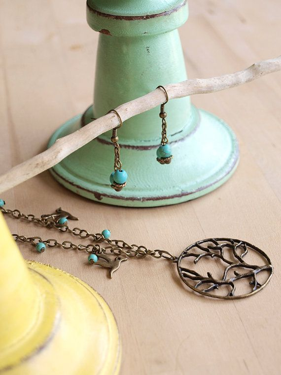 Turquoise Tree of Life Charm Necklace and by AtticRoomStudio