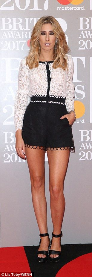 Lovely in lace: TV personality Stacey Solomon plumped for a more casual vibe in a lace top...