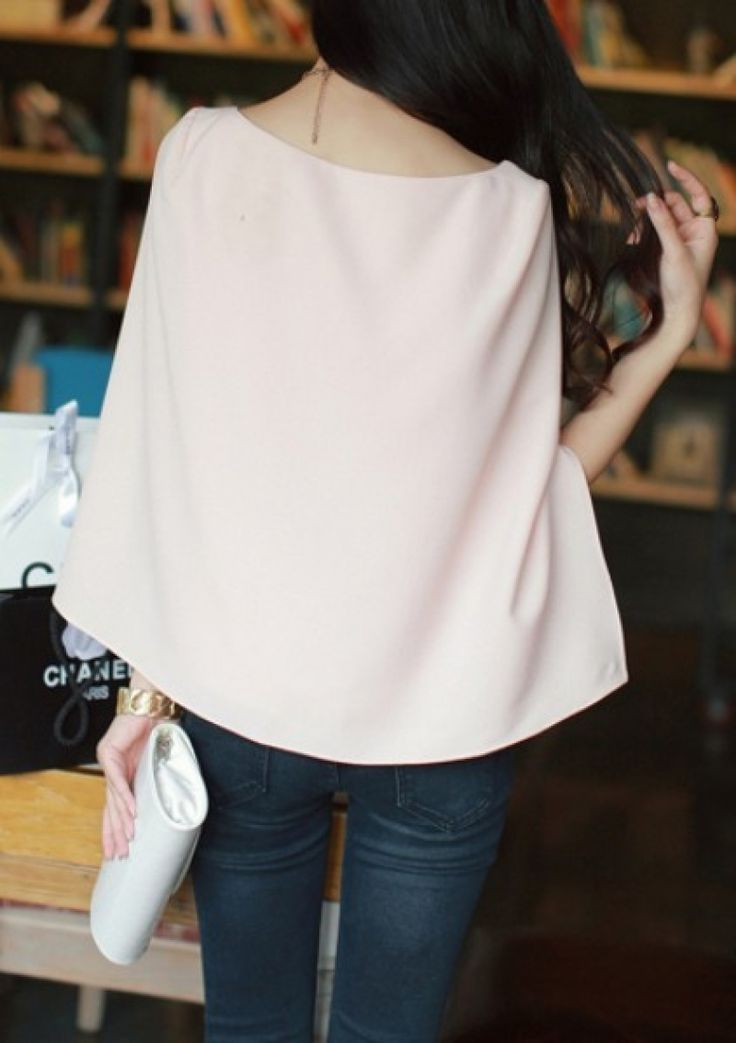 Buy Pink Split Long Sleeve Chiffon Blouse from abaday.com, FREE shipping Worldwide - Fashion Clothing, Latest Street Fashion At Abaday.com