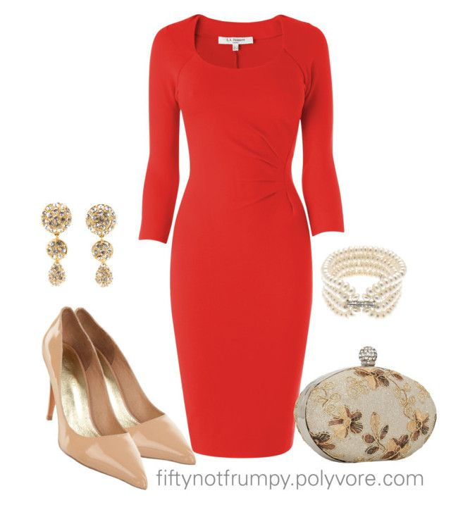 Go Red for Women! by fiftynotfrumpy on Polyvore featuring polyvore, fashion, style, L.K.Bennett, Top End, Lido Pearls, Christian Dior and red dresses