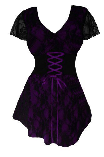 Dare To Wear Victorian Gothic Women's Plus Size Sweetheart Corset Top Purple 2X - http://releasingsteam.com/dare-to-wear-victorian-gothic-womens-plus-size-sweetheart-corset-top-purple-2x/