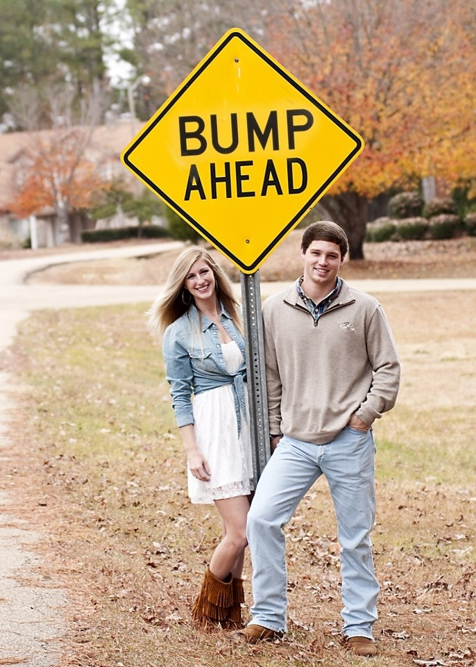 Pregnancy announcement Bump ahead Maternity photo