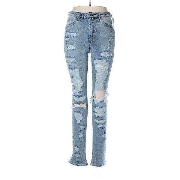 H&M Jeans (270 MXN) ❤ liked on Polyvore featuring jeans, light blue, h&m jeans, light blue jeans and blue jeans