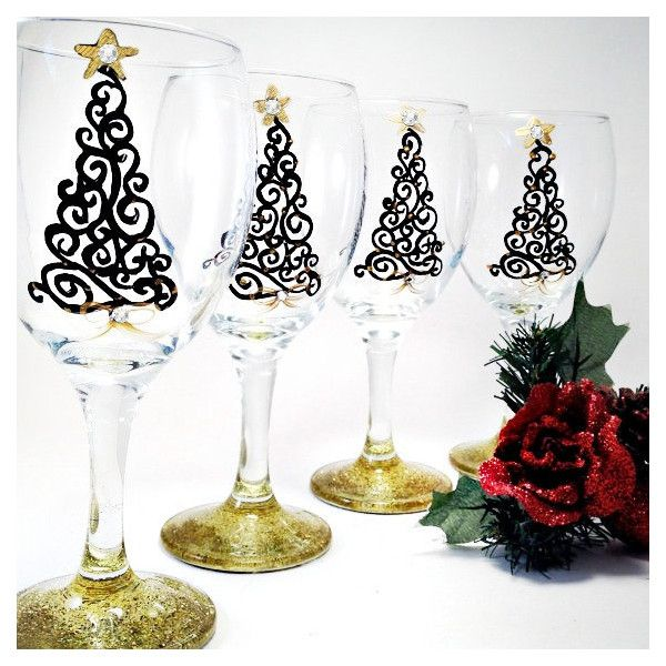 Christmas Wine Glasses Hand Painted With Swarovski Crystals Set of... ($70) ❤ liked on Polyvore featuring home, kitchen & dining, drinkware, barware, drink & barware, grey, home & living, wine glasses & charms, painted wine glasses and holiday tree