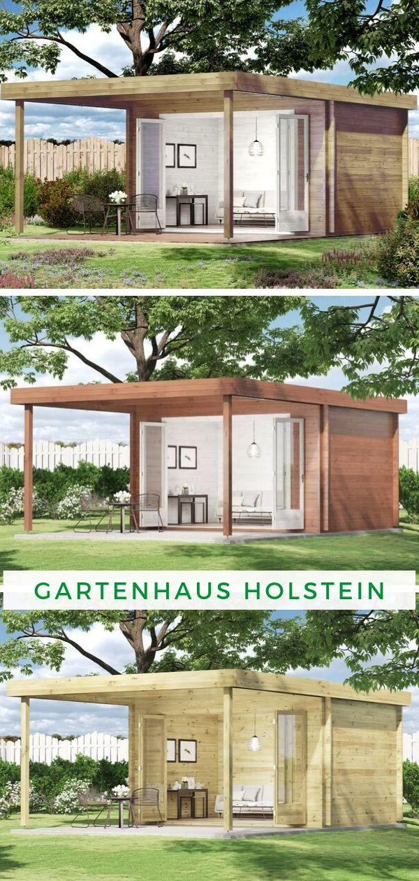 Gartenhaus Holstein40 mit großer Falttür Flachdach