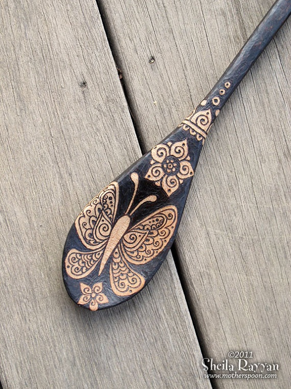 mehndi Butterfly design - Henna Butterfly - Butterfly Spoon  pyrography wood burning home decor