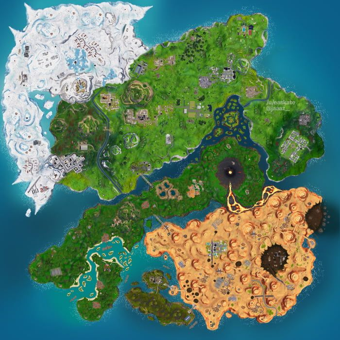 Fortnite Islands Map Concept Featuring New And Old Pois Island