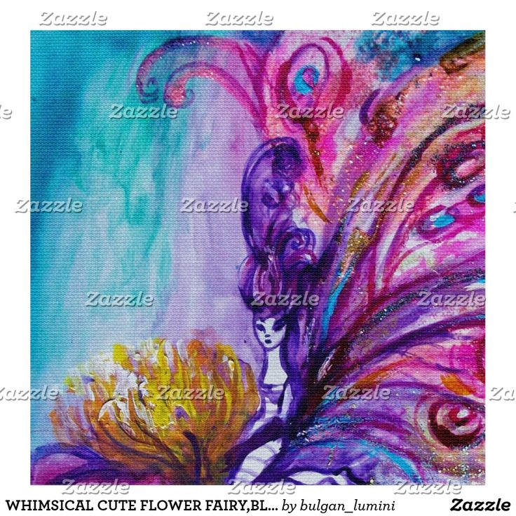 WHIMSICAL CUTE FLOWER FAIRY,BLUE PINK PURPLE WINGS FABRIC #fantasy #fabric #fashion #craft #kraft #fairies #beauty