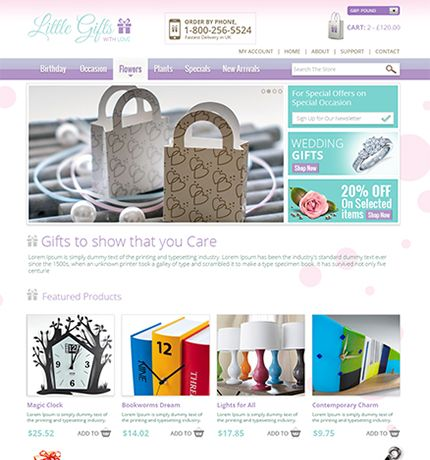 Example of a beautiful ecommerce design