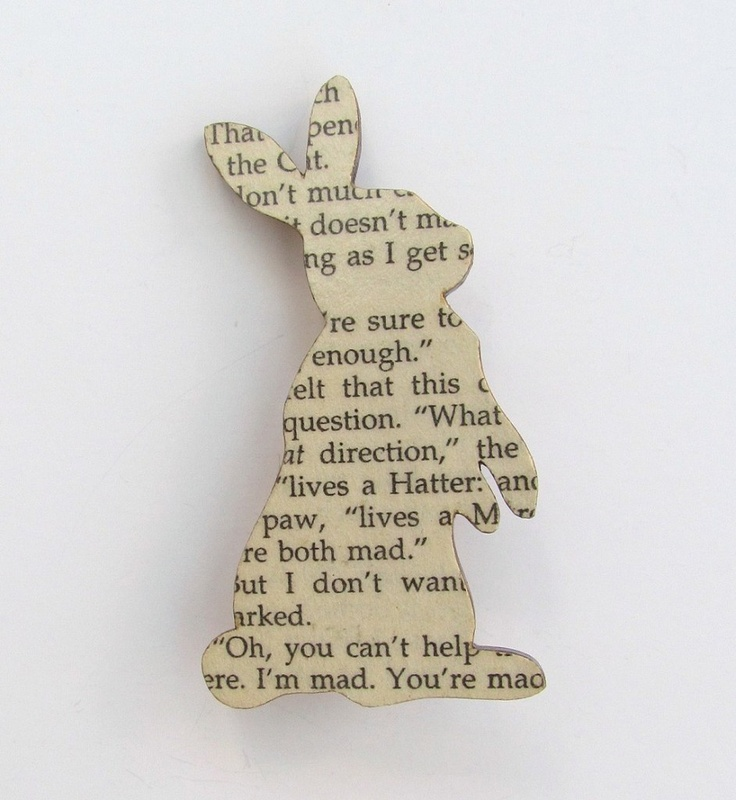 Brooche mad from vintage book pages (this one is from Alice in Wonderland)  so cute