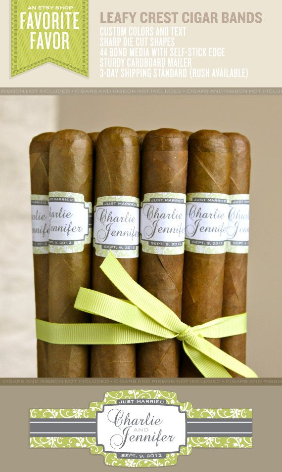 16 Wedding Cigar Bands - Custom Printed Labels - Leafy Crest. $24.95, via Etsy.