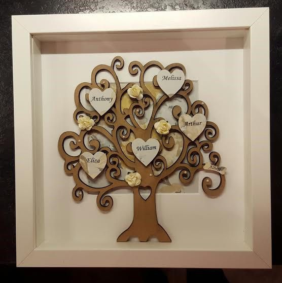 Personalised Wooden Family Tree Frame With By