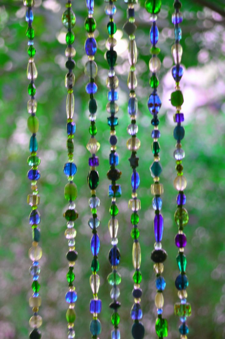 Blue Hanging Door Beads-bead curtain-Glass Beaded Curtain-Turquoise Glass Beaded Suncatcher-outdoor beaded door curtain-beaded glass curtain by RonitPeterArt on Etsy
