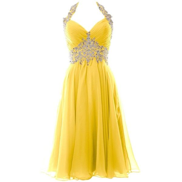 MACloth Women Halter Lace Chiffon Short Prom Dress Formal Evening Ball... ($109) ❤ liked on Polyvore featuring dresses, gowns, prom, lace gown, halter prom dresses, yellow lace dress, formal dresses and short lace dress