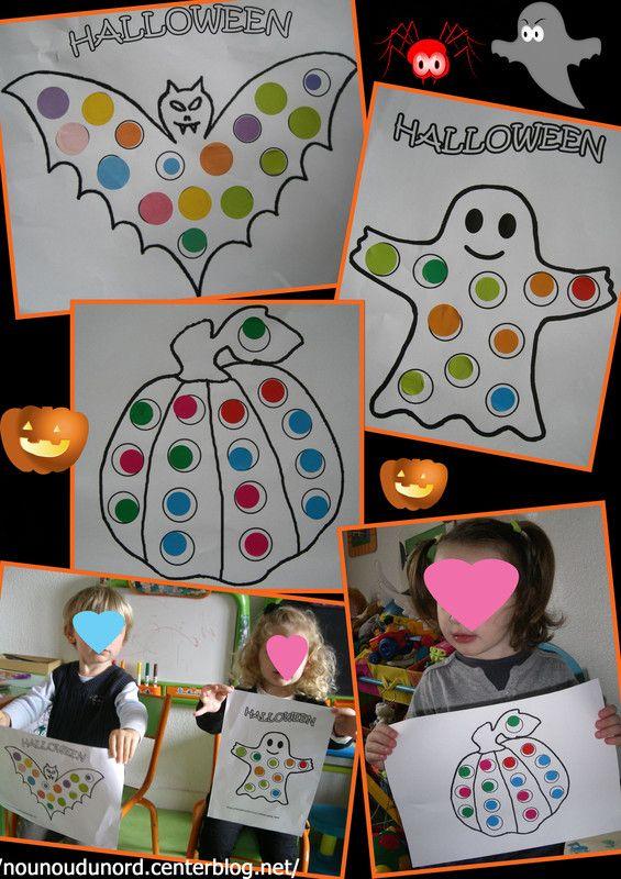 Activité collage de gommettes pour Halloween