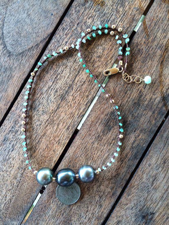 Triple Tahitian  pearl  Peruvian opal and pyrite by SigalJewels