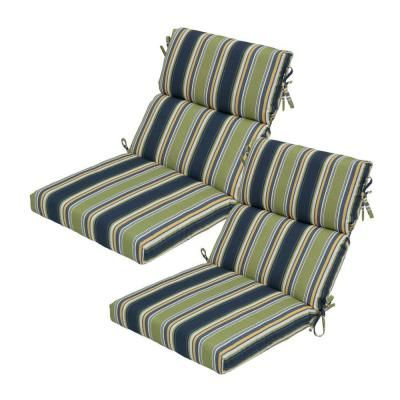 Hampton Bay Burkester Stripe High Back Outdoor Chair Cushion The Home Depot