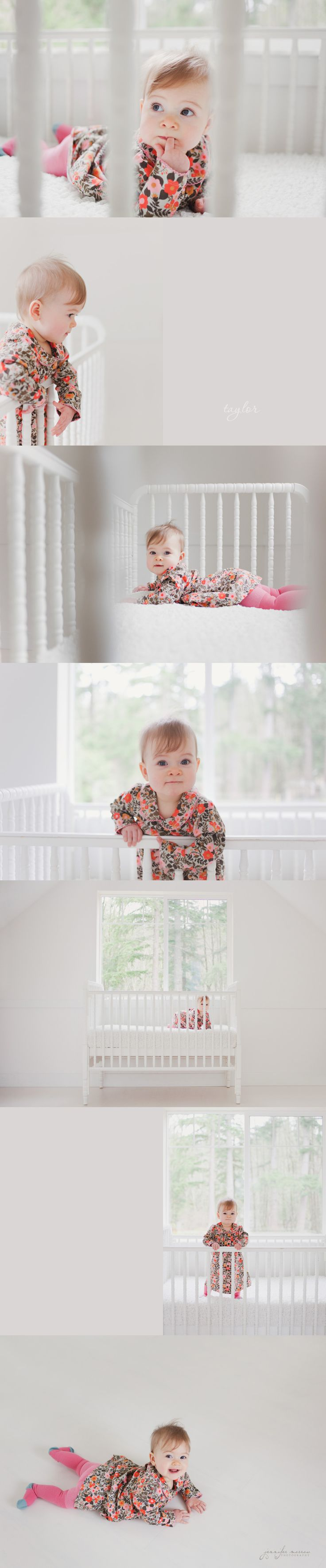 Baby session, 10 months old, white crib --- this is actually quite inventive, using a child's natural environment and their everyday clothes, as opposed to ridiculous poses and props