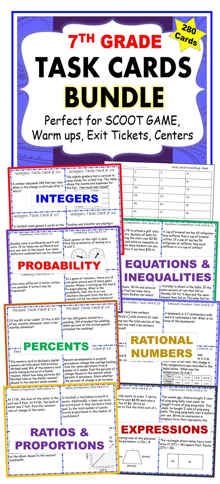 7th Grade Task Cards BUNDLE Common Core {280 Cards}. I use these task cards with my students to help them practice PROBLEMS SOLVING. This resource includes 280 task cards (7 sets/40 cards per set), student answer sheets, and answer keys. Your students will love working with these task cards. These TASK CARDS are perfect for reinforcing concepts through individual student practice, pair-share, early finishers, and assessment prep.: 7th Grade Task Cards BUNDLE Common Core {280 Cards}. I use these task cards with my students to help them practice PROBLEMS SOLVING. This resource includes 280 task cards (7 sets/40 cards per set), student answer sheets, and answer keys. Your students will love working with these task cards. These TASK CARDS are perfect for reinforcing concepts through individual student practice, pair-share, early finishers, and assessment prep.