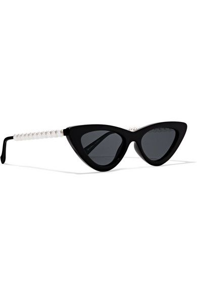 adea3f7b5feb Le Specs - The Last Lolita faux pearl-embellished cat-eye acetate ...