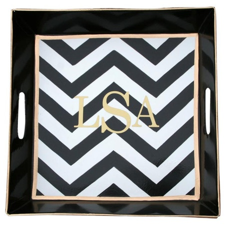 Letters will be printed in the order in which they are providedHighlighted by a vibrant hand-painted motif, this metal bedside tray offers amp...