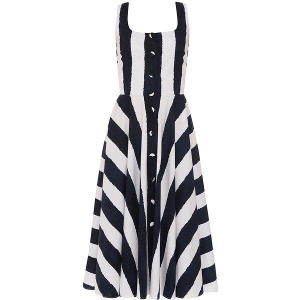 Samantha Sung April Indigo Stripe Stretch Cotton Poplin Dress (22,030 THB) ❤ liked on Polyvore featuring dresses, stripes, white button dress, button dress, sleeveless flare dress, white dress and tea length dresses