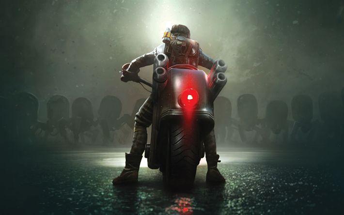 Descargar fondos de pantalla Acero Ratas, 4k, cartel, 2018 juegos, ciclista de acción
