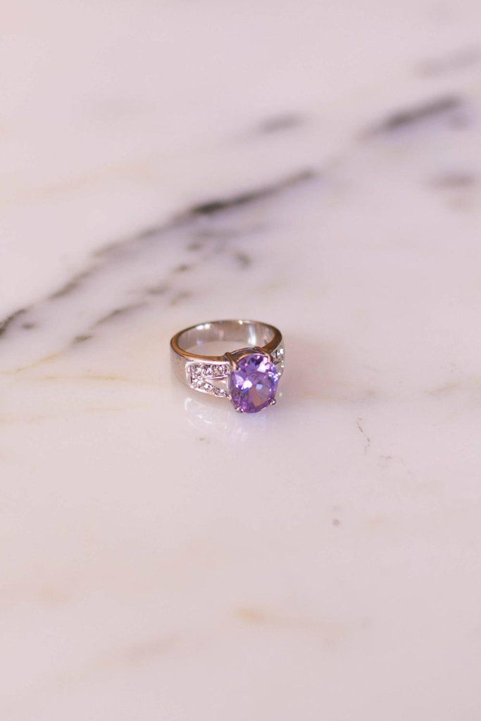 Iolite Oval Solitaire Ring with Pave Cubic Ziroconia Accents set in Si – Vintage Meet Modern