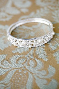 wedding band with pearls