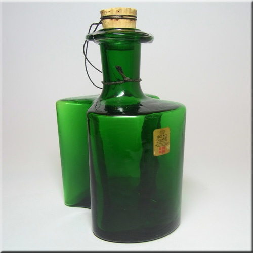 Holmegaard green glass 'Hiverten' schnapps bottle with cork stopper, designed by Hjördis Olsson and Charlotte Rude, labelled.