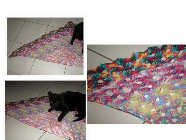 Virus Shawl from 4 ply mixtures. Now to try a Queen size bed cover