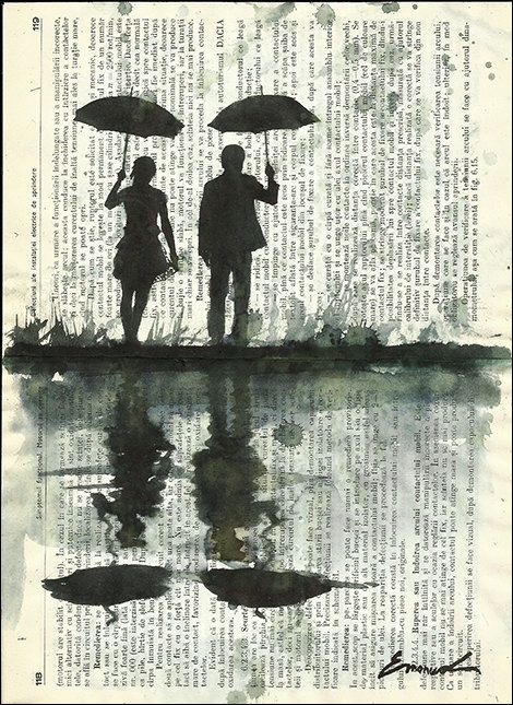 Fine Art Poster canvas Ink Drawing Art Painting Mixed Media Illustration Gift Couple with Umbrella Rain Autographed signed Emanuel Ologeanu