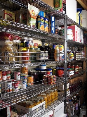 Commercial food storage shelves with shelf guards! Great for earthquakes